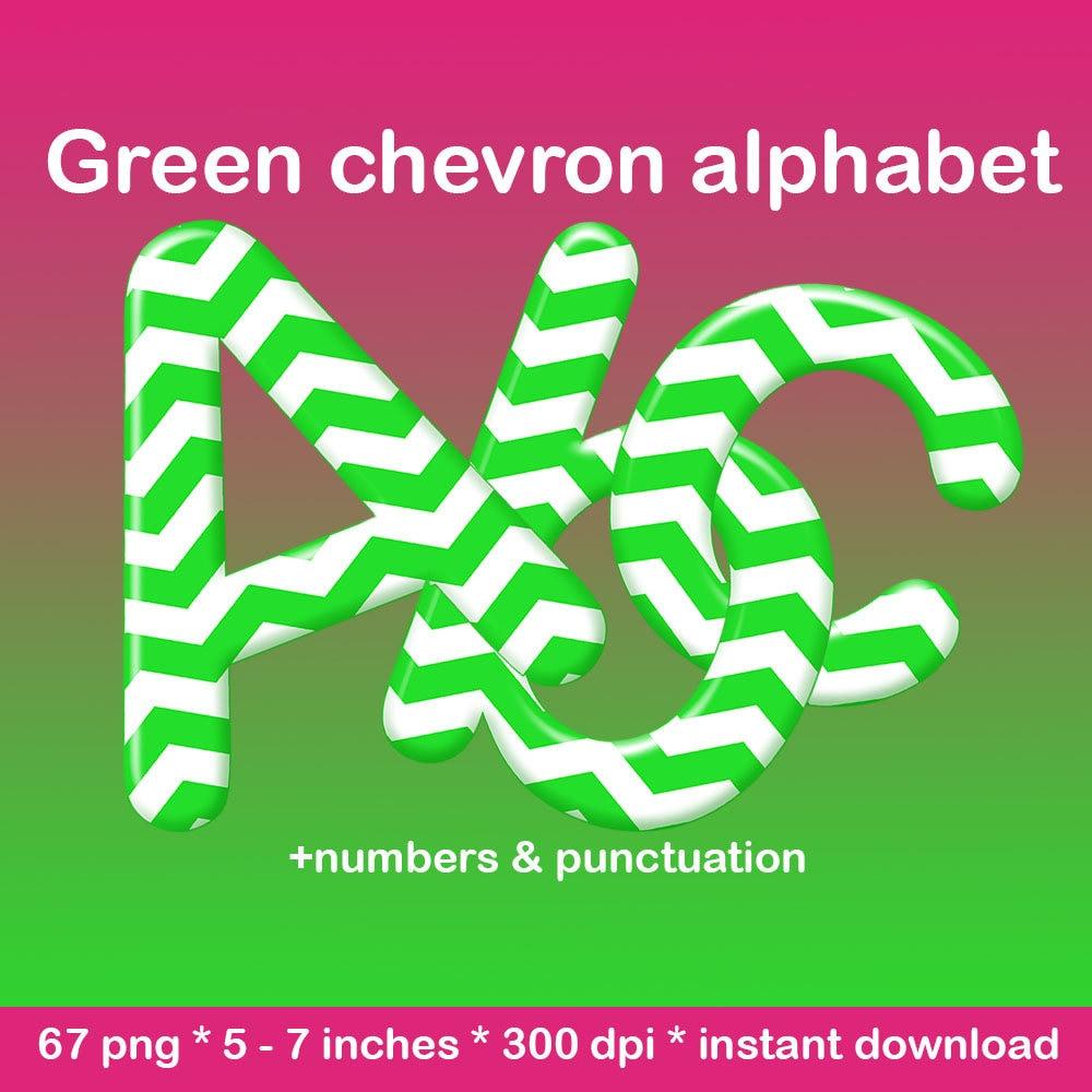 Green chevron digital alphabet clipart, printable chevron font ...