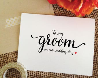 To my Groom on our Wedding Day Cards for Groom card to my groom card for Groom wedding gift for groom gift from bride to groom wedding card