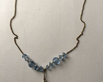 Vintage Art Deco Simulated Aquamarine Blue Glass Necklace - Aged Gold Tone 1910-1920s Costume Jewelry