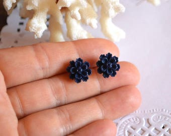 dark blue earrings christmas gift for her flower earrings girl gift for women tiny earrings black stud earrings floral jewelry gothic flower