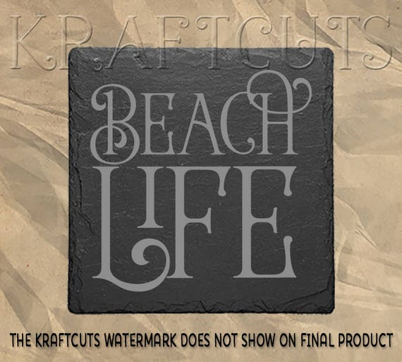 Beach Life Engraved Slate Coaster