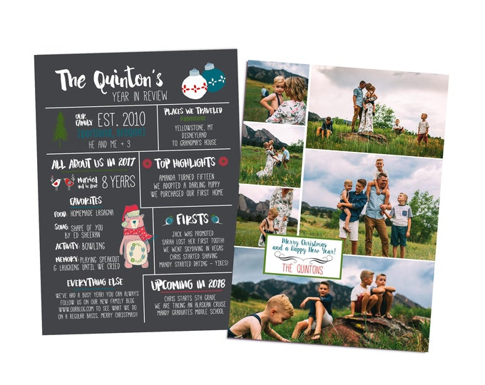 Year In Review Christmas Card Template - 5x7 Photo Card - Photoshop Template - INSTANT DOWNLOAD or Printable - YIR04