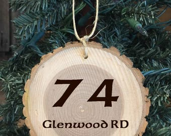 Personalized Wood Ornament with the address of new home