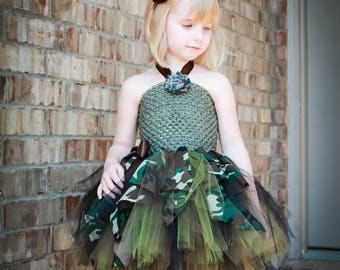 Camo tutu dress.  Girls camo dress.  Baby camo dress. Toddler camo dress.