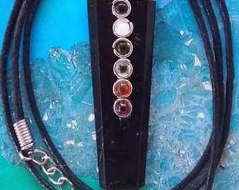 BLACK TOURMALINE Crystal PENDANT With 7 Chakra Stones, 6-Sided Chakra Necklace, With Hemp Chain and Gift Box, Optional Matching Bracelet