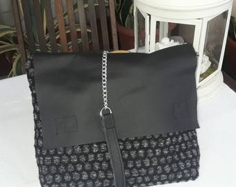 Shoulder bag, crossbody bag, handbag, wool soft tissue, real leather ,black,  grey, all-porpouse bag, chain strap, pochette