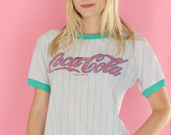 RARE Vintage 70's Coca Cola Ringer Tee Shirt / Green and White Striped Ringer Tee Shirt / Vintage Coke Tee Shirt