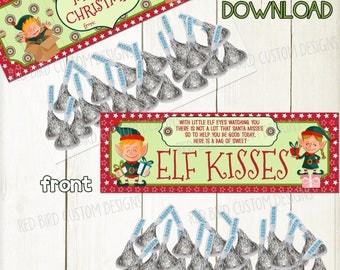 Christmas Elf Kisses DIY Favor Toppers  (Christmas Party,Instant Download,School,Church,Sunday School,Candy,Treat Bags,Elf Good Behavior)