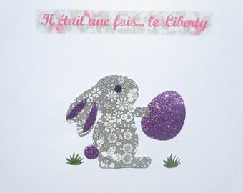 Appliqué thermocollant lapin et œuf en liberty June Meadow gris + flex pailleté motif lapin à repasser applique liberty patch iron on bunny