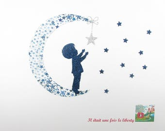 "Appliqués thermocollants liberty Petit garçon ""My little star"" en tissu Adelajda bleu + flex pailleté motif thermocollant lune patch iron on"