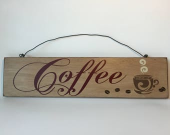 Coffee Wooden Sign with Coffee Cup and Coffee Beans