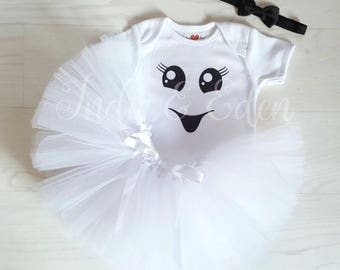 Baby Ghost Halloween girls tutu fancy dress costume babysuit birthday glitter white one set photo prop cake smash