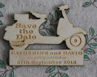 Vespa scooter shaped SAVE THE DATE wooden Magnets Personalised New