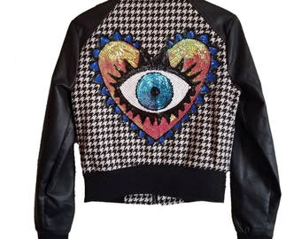 Color Block Eye See You Bomber Jacket