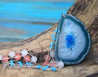 Under the Sea Mermaid Necklace - Blue Onyx Druzy Agate Beaded Necklace - Mermaid Jewelry - Statement Jewelry - Coastal Jewelry -OOAK - Beach