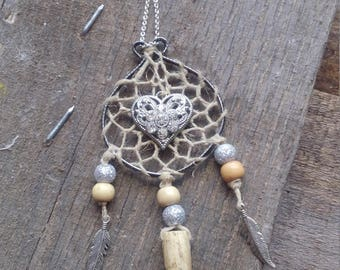 deer antler dreamcatcher,real deer antler necklace,hemp dreamcatcher,