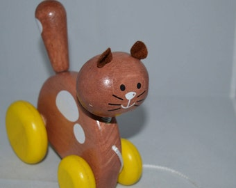 Cat pull toy / wood / Voila toys / wooden pull toy / pull toy / toy / cat / vintage toy / wood vintage toy / cat toy / children