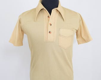 Vintage 70s Mens Medium Tan Polyester Polo Button Up Shirt