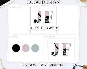 Branding kit, premade branding package, elegant logo, square logo, feminine logo, watercolor logo, business logo design, photography logos