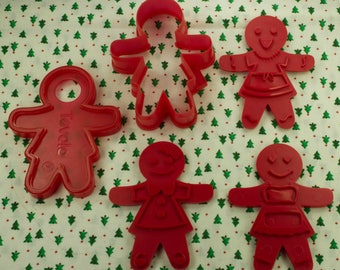Tovolo Gingerbread Girl 5 Pc. Plastic Christmas Imprint Cookie Cutter Set