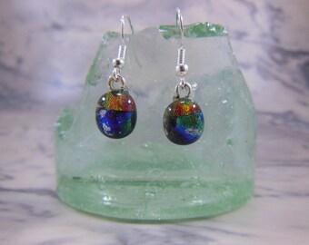Handmade Fused Glass Orange/Red and Blue/Green Earrings