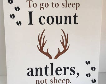 To go to sleep I count antlers not sheep painting, kids decor, handpainted art