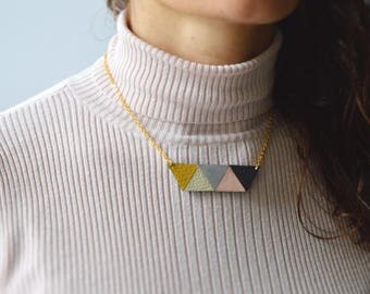 Leah leather necklace Geometric pendant Minimalist jewellery Upcycled jewellery Anniversary gift Gift for her