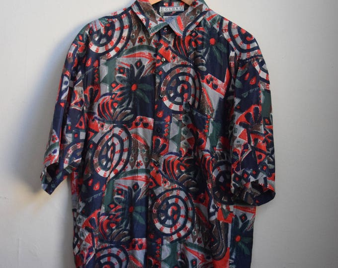 Abstract Silk Short Sleeve Shirt.