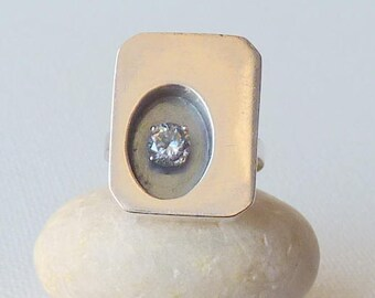 Vintage Modernist  Cubic Zircon Ring Shadow Box Sterling Silver Size 7, Fashion Ring, Geometric Ring Modern Ring 70's Jewelry  Silver Ring