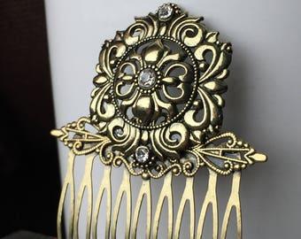Gold Bridal Hairpiece - Hair Combs for Weddings - Wedding Hair Comb - Decorative Hair Comb - Hair Accessories Short Hair - Bridal Hair Comb
