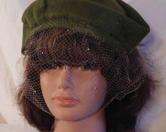 Muhlfelders Felt Cap Olive Green Felt Mini Hat Rhinestone Veil Fascinator
