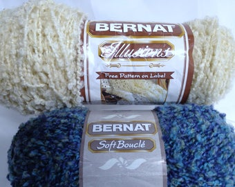 Bernat Yarn Skeins, Bernat Illusions Boucle Yarn, Bernat Soft Boucle Nubby Yarn, Large Yarn Skein, Blue Boucel, Cream Yarn Discontinued Yarn