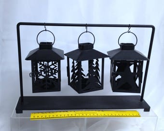 Rustic Candleholder, Retro Candle Holders, Cabin Themed Metal Tea Light Candleholder Hanging Candle Holders On Stand for Patio or Deck