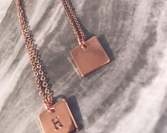 Personalised Square Hand Stamped Initial -Silver or Rose Gold Plated Necklace...Jewellery...Keepsake
