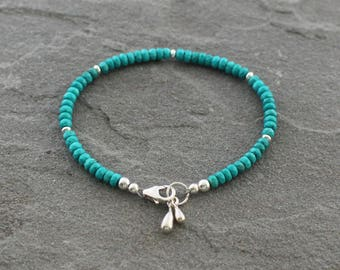Turquoise Bracelet, Turquoise Beaded Bracelet, Beaded Turquoise Jewelry, Teal Bracelet with Sterling Silver Drops, Teal Blue Stones