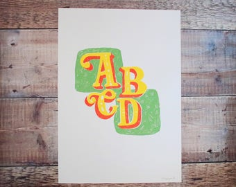 ABCD A3 Print - Screen Print - Alphabet - Illustration - Children's Art - Nursery Art - Nursery Decor - Wall Art - Decorative Print