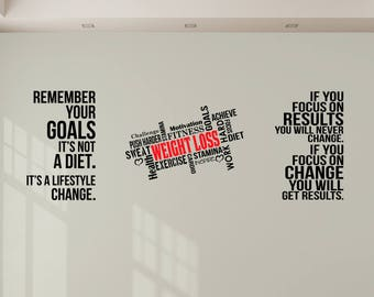 Three Weight Loss and Goal Inspiring Motivational Wall Art Decals, Perfect for Gyms, Homes and Health & Fitness Centres. Great Savings!