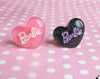 Barbie Heart Ring - Available in Either Pastel Pink or Black and Lilac