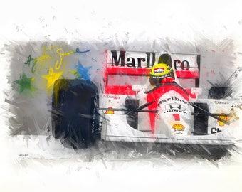 Ayrton Senna, McLaren F1 - Giclée Print from original painting - A3 & A2