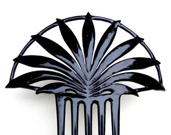 Black celluloid hair comb Art Deco fan shape hair accessory hair fork headdress headpiece hair ornament decorative comb