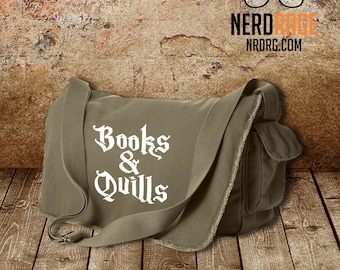 Books and Quills Canvas Messenger Bag - Cotton Canvas Bag - Harry Potter Inspired Bag - Custom Bags Available
