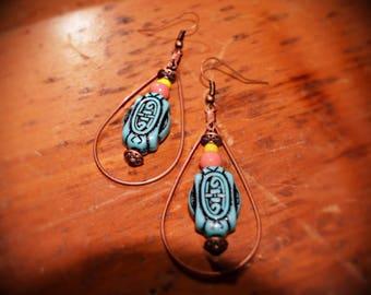 Tribal Earrings, Bohemian Earrings, Afrocentric Earrings, Afropunk, Copper Earrings