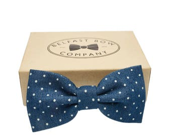 Handmade Spotted Bow Tie in Denim Blue - Adult & Boys sizes available