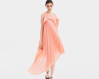 Boho Bridesmaid Dress, Peach Dress, Beach Wedding Dress, Pleated Boho Wedding, Spring Dress, Blush Wedding Dress, Short Bridesmaid Dress