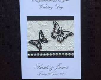Handmade Personalised Wedding Engagement Wedding Acceptance Card Monochrome Vintage 3D Butterfly Design Diamonds Husband Wife Mum and Dad