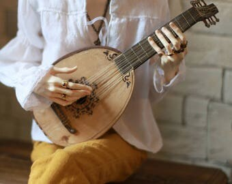BJD ABJD balljointeddoll 1/3 70+ SD17 medieval lute (oud) Ancient stringed plucked musical instrument