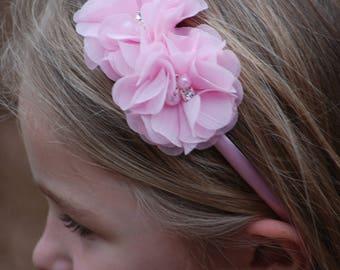 Light Pink Headband - Spring Headband - Pink Headband - Toddler Headband - Flower girls headband - Hard headband - Easter headband