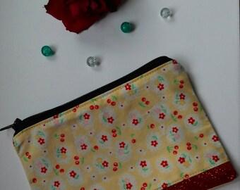 Rockabilly cherry print glitter coin purse