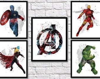 Avengers Watercolor Poster Superhero Watercolor Art Print Iron Man Captain America Hulk Thor Marvel Movie Kids Room Decor Wall Hanging