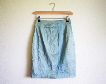 Vintage High Waist Skirt, French Silk Skirt Small, Silk Midi Skirt, Aqua Blue and Green Pencil Skirt